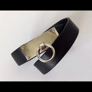 MICHAEL KORS Double Wrap Black Leather Bracelet